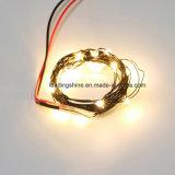 Luzes estrelados brancas mornas da corda do diodo emissor de luz do fio preto no fio de cobre com a bateria da moeda da potência 3V