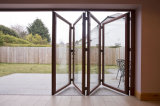 Puerta de aluminio doble confiada de Bifolding del vidrio Tempered de la calidad de Woodwin