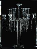 De Houder van de Kaars van het kristal met Vijf Affiches voor de Decoratie van de Vakantie