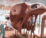 La cabeza del cráneo del pájaro de oro, escultura al aire libre al aire libre del metal del cuadrado del jardín