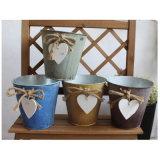 Pote de flores em vaso de flor de lata galvanizado antigo