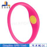 Wristband elegante respetuoso del medio ambiente del silicón del código RFID del laser que juega