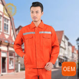 Uniforme de vêtements de travail de force d'orange d'OEM salut, uniforme de nettoyage