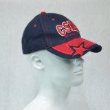 Gorra de béisbol de encargo del algodón de los paneles del azul 6 que compite con los casquillos