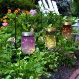 Color café pintado tarro de cristal material Mason iluminación solar para la decoración al aire libre