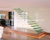 별장 유리벽을%s 가진 유리제 뜨 계단 /Wood 부유물 똑바른 층계