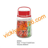 4L果実酒のガラス瓶、プラスチック帽子が付いている大きいガラス記憶の瓶