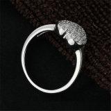 Anel de noivado pavimentado CZ esterlino da forma do coração do Zirconia da prata