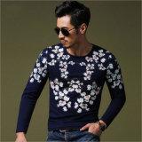 Té occasionnel de long de chemise de Knit collier rond mince floral de coton