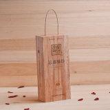 Boîtes en bois découpées par main personnalisées à vin pour la boîte-cadeau