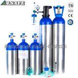 Garganta azul, tanques de oxigênio médicos de alumínio de prata