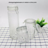 3PC Screw Thread Glass Food Storage Jar Set com tampa de vidro