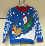 男の子のための子供のセーターXmasサンタIntarsiaのジャンパー