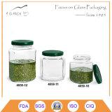 Vasi di vetro dell'alimento della radura del commestibile con la protezione dell'aletta e la stampa di marchio