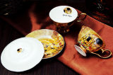 Hermosa cerámica taza de café y platillo taza de porcelana