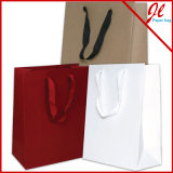 Sacos de papel de compra brancos lustrosos coloridos de Kraft dos sacos de compra