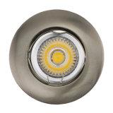 Mourir la lampe enfoncée fixe par nickel blanc rond du satin LED de la fonte d'aluminium GU10 MR16 (LT1002)