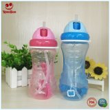 Wasser-Flasche des Baby-450ml mit Stroh und Schulter-Streifen