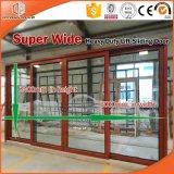 Elevador resistente e deslizamento da porta de vidro de alumínio de madeira feita para o cliente de América