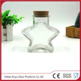 Frasco de vidro do presente da forma vazia da estrela com cortiça