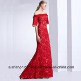 Frauen-Spitze-Retro elegantes langes Abend-Partei-Abschlussball-Kleid