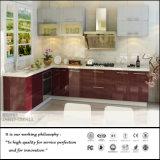 高い光沢のある赤い紫外線食器棚(ZH935)