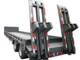 Tri dos eixos de Lowboy reboque do caminhão da carga Semi com escada hidráulica