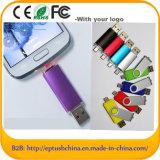 Movimentação móvel da pena do USB da movimentação do flash do USB do giro plástico