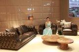 Sofá superior do couro de grão da sala de visitas