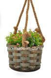 Cesta colgante de madera de la flor para el hogar y Gargen