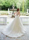 Nach Maß Brautkleider V-Stutzen Spitze-Tulle-geschwollenes Hochzeits-Kleid 2017 Mr2885