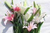 가정 결혼식 훈장을%s 가짜 백합이 실제적인 접촉 분홍색에 의하여 실크 Artififcial 꽃이 핀다