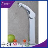 Colpetto di miscelatore dell'acqua del rubinetto di lavabo del dispersore della stanza da bagno del bicromato di potassio di Handle&Hole dell'alto arco di Fyeer singolo