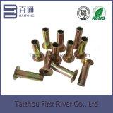 remache de acero tubular lleno principal plano plateado cinc de la guarnición de freno 6.3X22