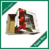 Caja de cereza papel con plástico PVC Ventana
