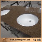 Partes superiores de pedra artificiais da vaidade da cor quente de quartzo de Brown do banheiro dos produtos da venda