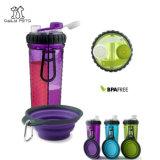 Бутылка портативной собаки перемещая с складывая шаром для еды и воды