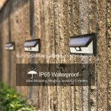 両側テラス、デッキ、ヤード、庭のための広いセンサーの角度の無線防水壁に取り付けられたライトの3つのLEDsが付いている24のLEDの屋外の太陽動きセンサーライト