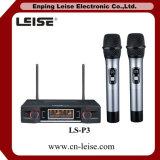 Microfono a doppio canale professionale della radio di frequenza ultraelevata di buona qualità Ls-P3