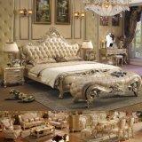 고대 침실 가구를 위한 금박을%s 가진 목제 침대