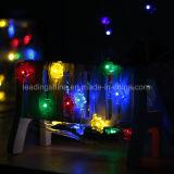 Цветастой веревочка света клена эксплуатируемая батареей освещает рождество украшая свет