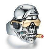 Череп &#160 дыма сбор винограда способа; Анти- выгравированный ржавчиной Titanium человек нержавеющей стали звенит ювелирные изделия