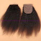 漂白される8A 100%の人間の毛髪のインドの絹の基礎閉鎖はバージンのねじれた直毛4X4のねじれたまっすぐな絹の基礎閉鎖を結ぶ