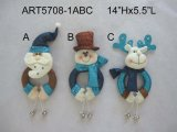 Santa, Snowman and Moose Christmas Decoration Doorknob, 3 Asst
