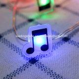 Quirlande électrique de couleur de musique de la forme DEL de corde décorative multi à piles de câblage cuivre