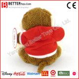 발렌타인 데이 선물 피복에 있는 연약한 장난감 원숭이