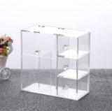 Organisateur acrylique de renivellement avec 2 supports de balai et cadre antipoussière de 3 tiroirs avec la perle libre