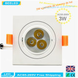 lámpara de aluminio natural Dimmable LED Downlight del techo del poder más elevado LED de la casilla blanca 3W