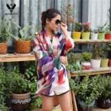 Lady's Luxury Style Geometria Irregular Colorida, Lenço de seda impresso para varejo e atacado