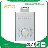 Luz de rua 12W esperta solar toda da bateria LiFePO4 em uma luz da parede